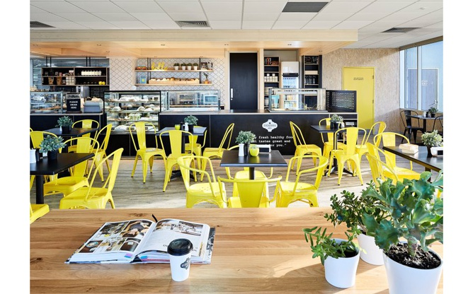 Bookmark Cafe yellow chairs