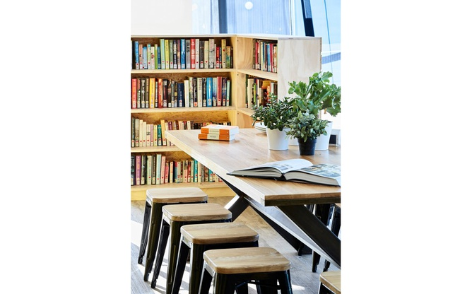 Bookmark Cafe long table and shelves