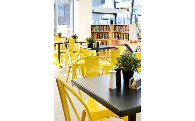 Bookmark Cafe chairs and shelving